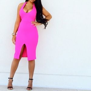 Pink Halter Dress Summer Sexy